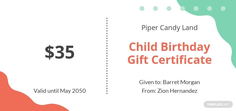 Child Birthday Gift Certificate Template