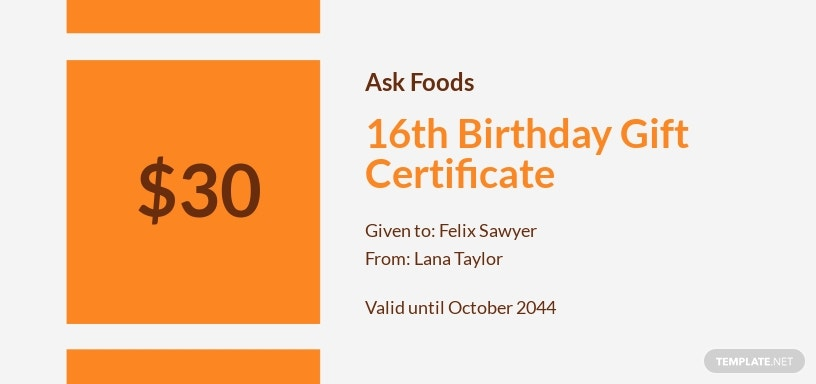 16th Birthday Gift Certificate Template