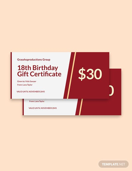 18th Birthday Gift Certificate Template