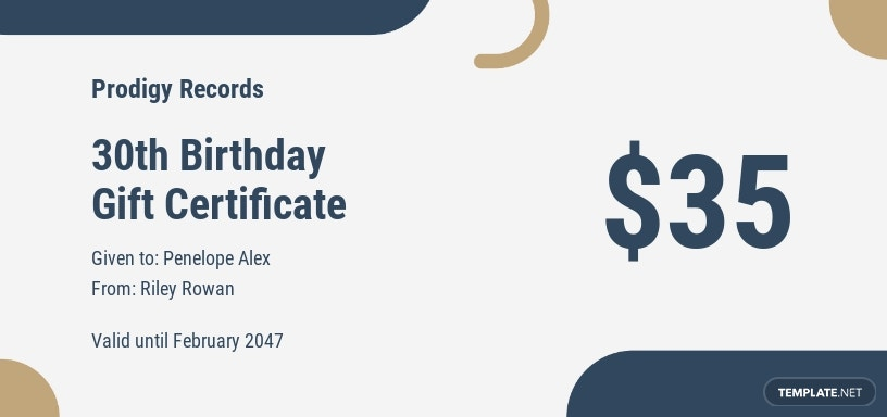 30th Birthday Gift Certificate Template