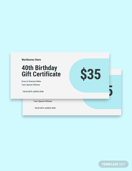 40th Birthday Gift Certificate Template