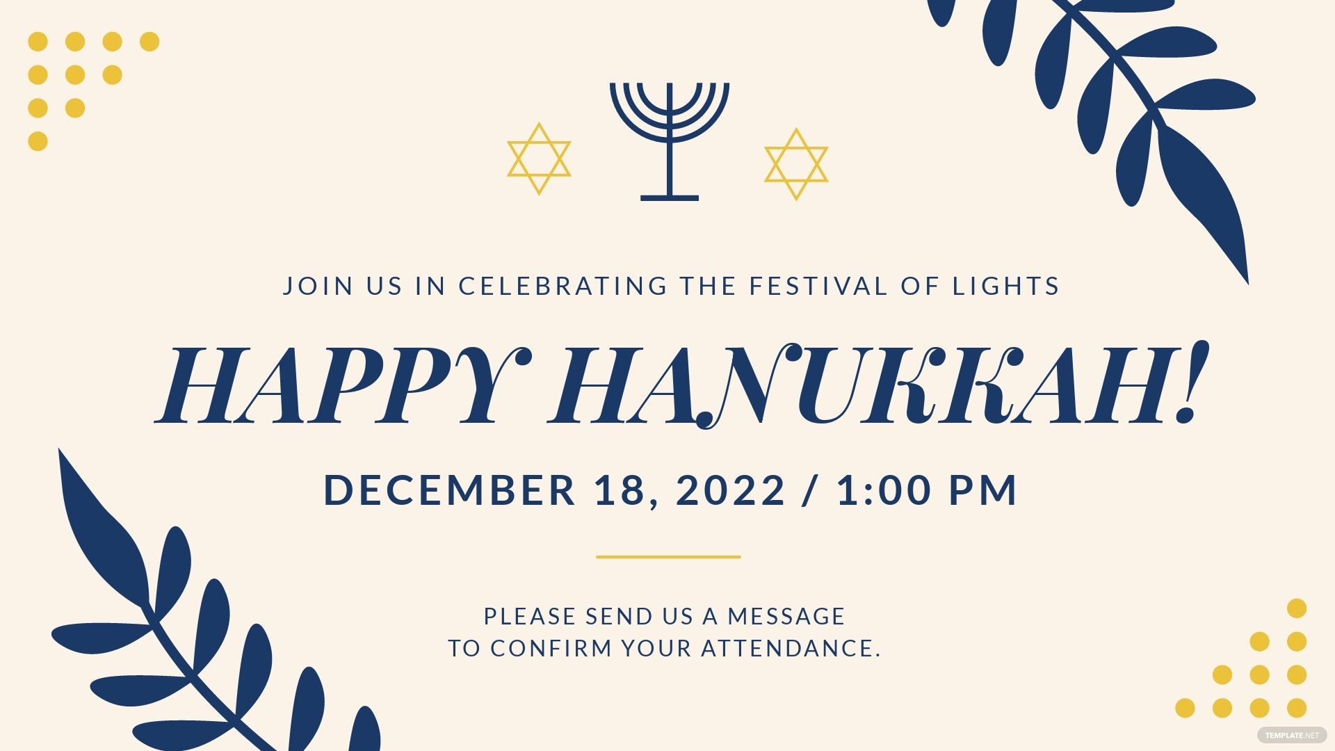 Hanukkah Party Facebook Event Cover Template