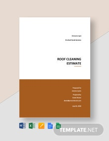 Free Roof Cleaning Service Estimate Template