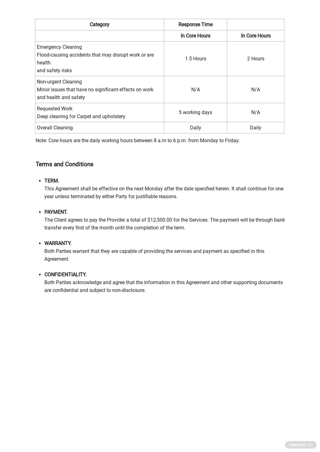 Cleaning Service Level Agreement Template 2.jpe