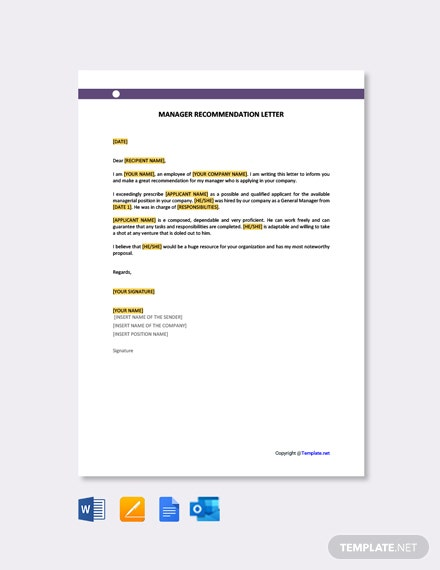Free Manager Recommendation Letter Template