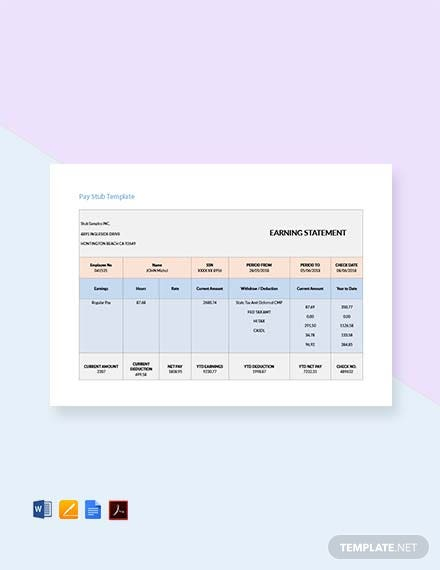 Free Bonus Pay Stub Template
