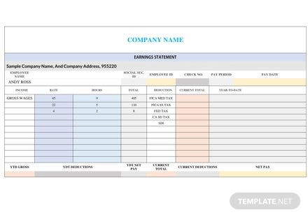 Corporate Business Pay Stub Template