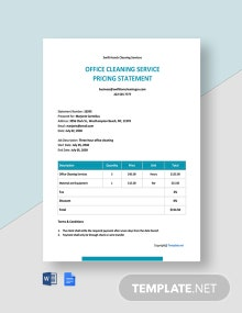 Free Sample Cleaning Service Statement Template
