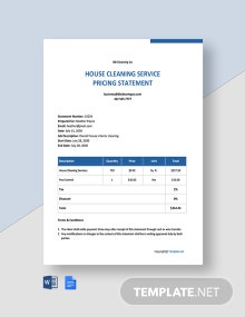 Free Simple Cleaning Service Statement Template