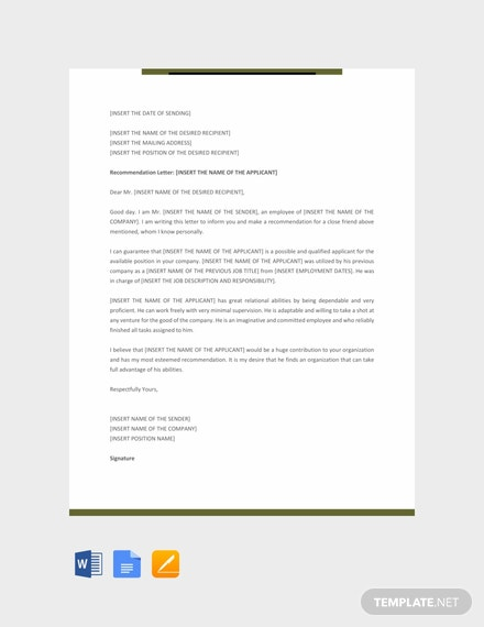 free personal recommendation letter template download 700 letters