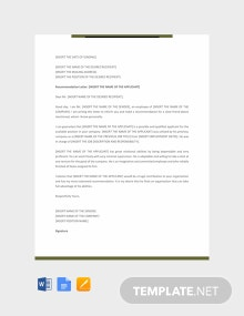 Free Personal Recommendation Letter Template