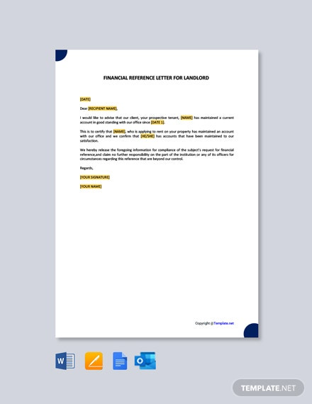 Free Financial Reference Letter for Landlord