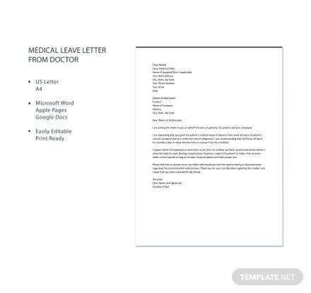 Free Medical Leave Letter from Doctor
