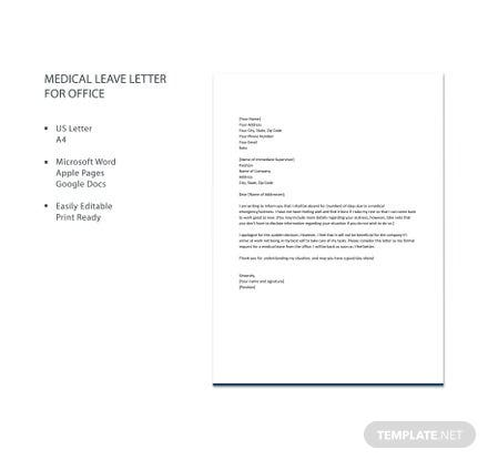 Free Medical Leave Letter for Office