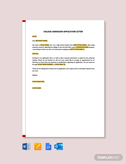 Free College Admission Application Letter