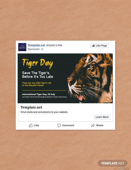 Free International Tiger Day Facebook Post