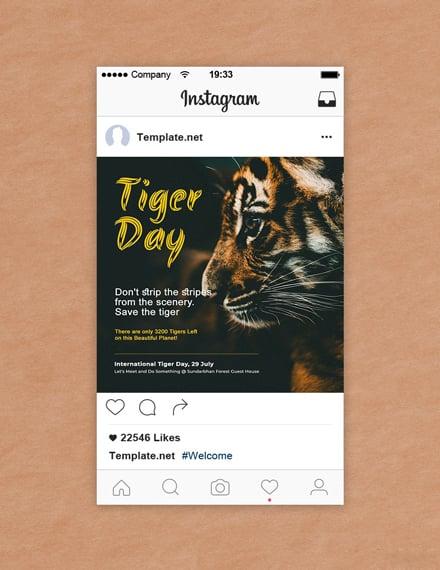 Free International Tiger Day Instagram Post