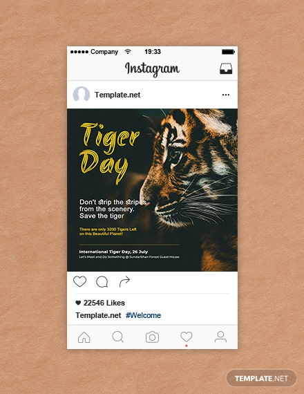 Free International Tiger Day Instagram Post