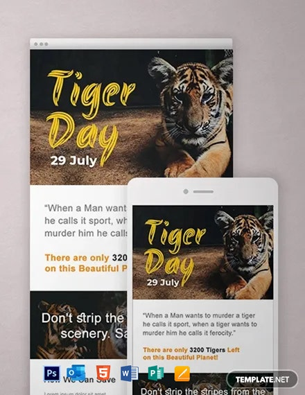 Free International Tiger Day Newsletter Template