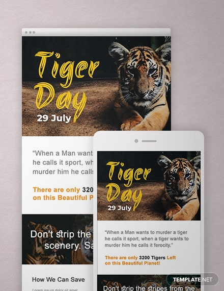 Free International Tiger Day Newsletter Template
