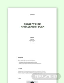 Free Project Risk Management Plan Template