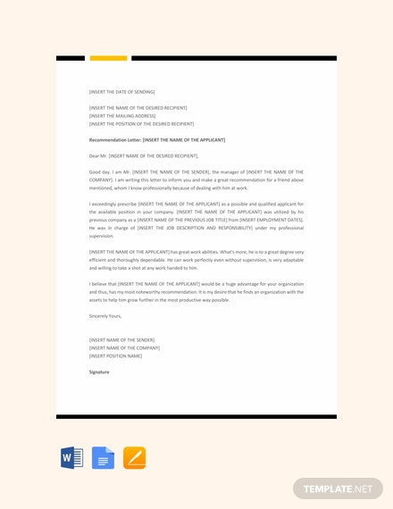 Free Professional Recommendation Letter Template
