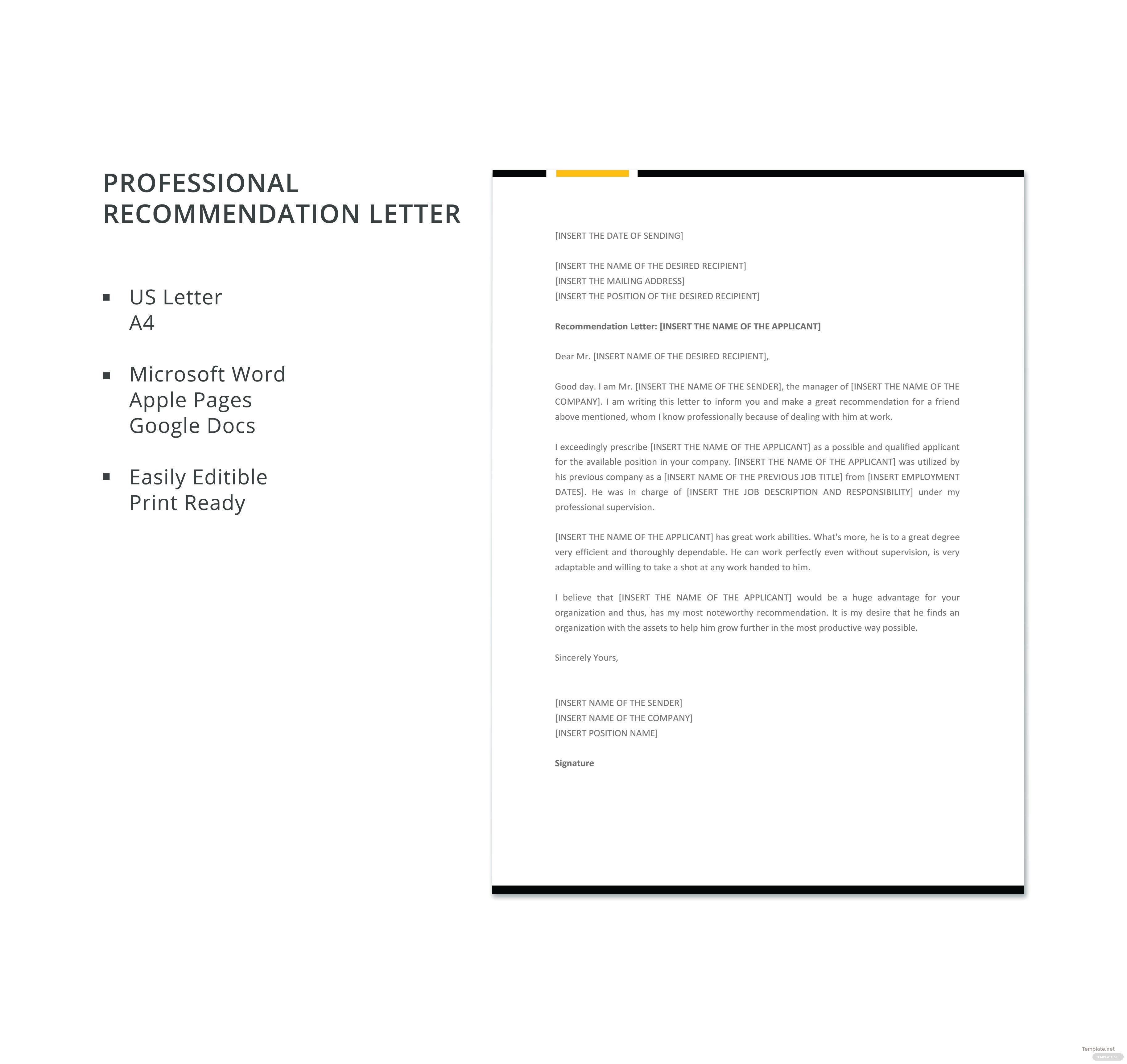 Free Professional Recommendation Letter Template In