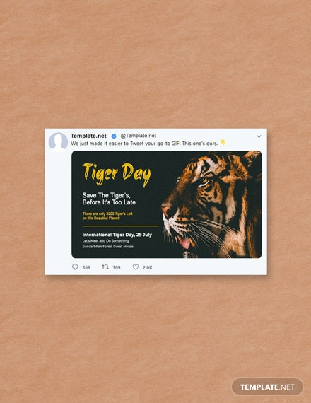 Free International Tiger Day Twitter Post
