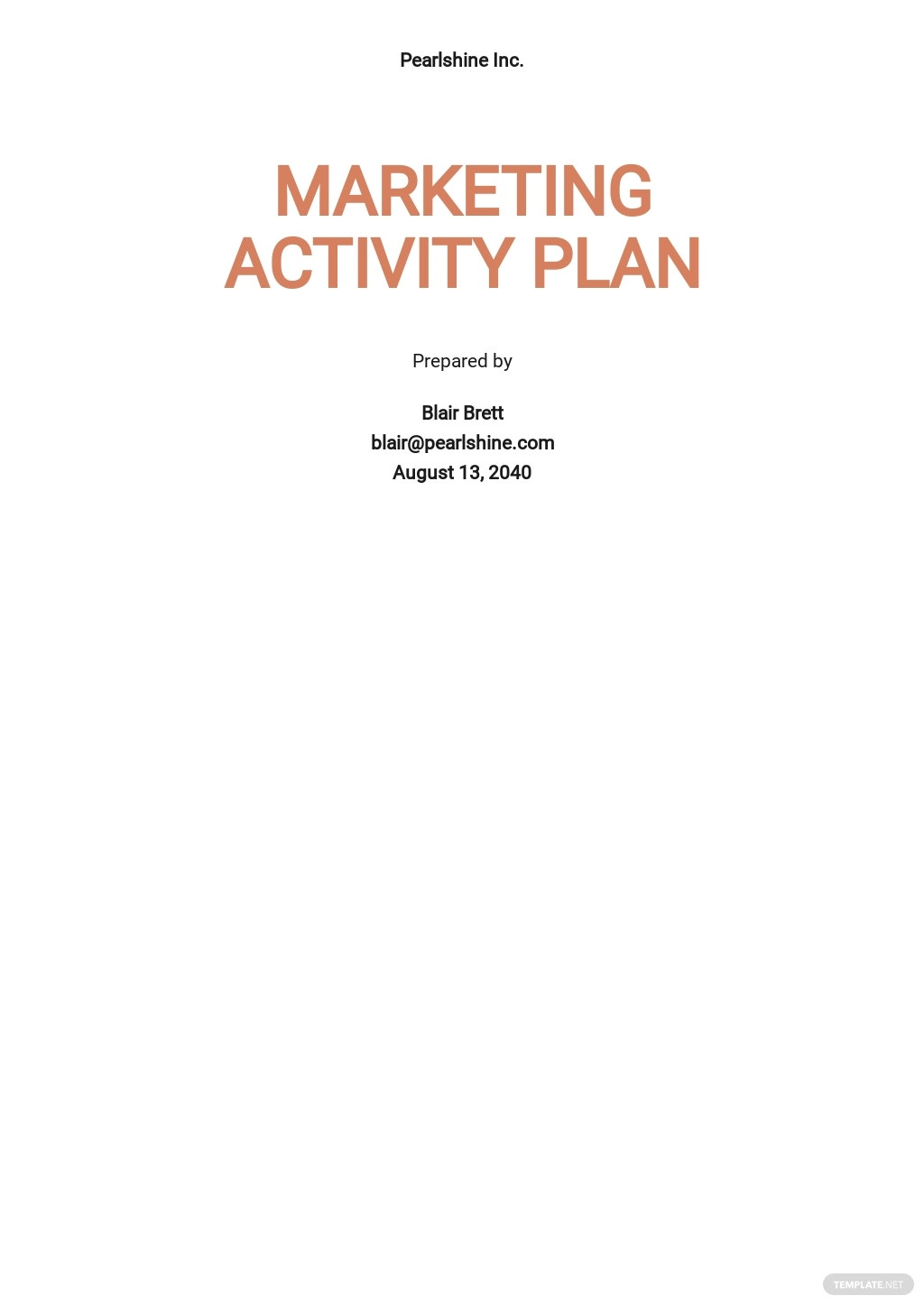 Marketing Activity Plan Template