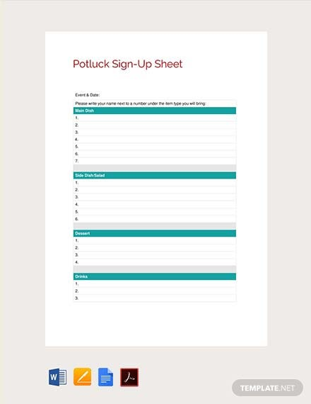 Free Sign Up Sheet Template Pdf Word Apple Pages