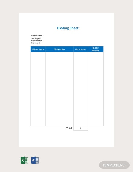 Free Bidding Sheet Template