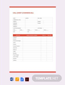 Free Call Sheet Template Download