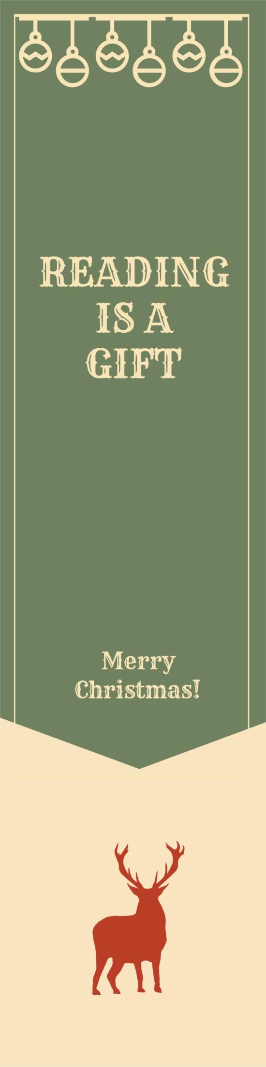 Vintage Christmas Bookmark Template