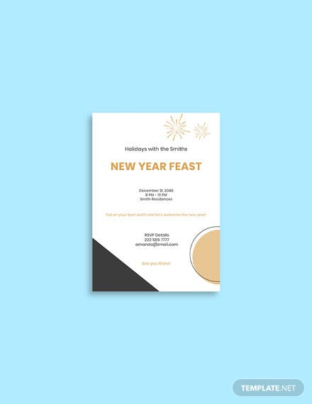 New Year Dinner Invitation Template