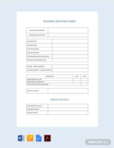 Free Delivery Note Form