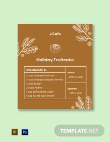 Christmas Food Label Template