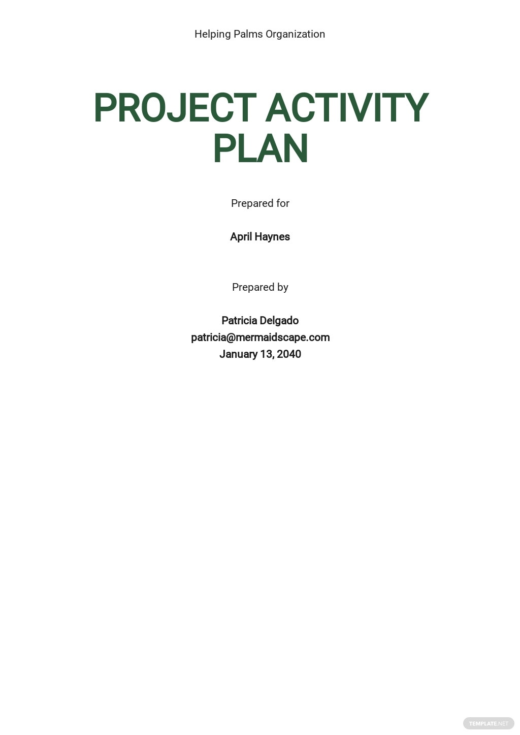 Project Activity Plan Template