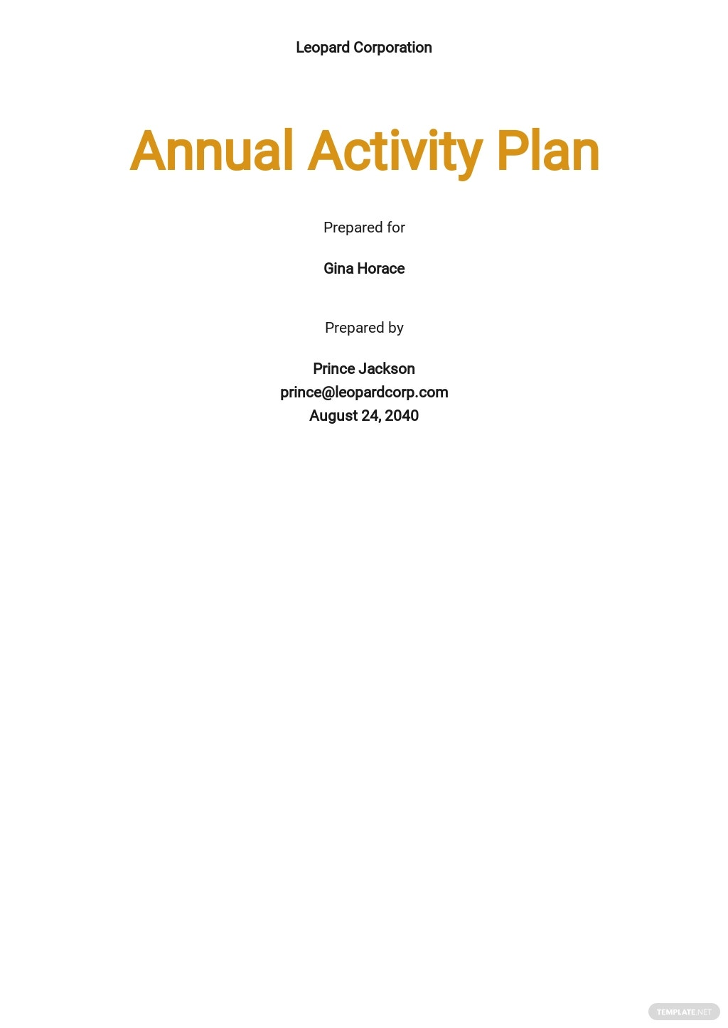 Annual Activity Plan Template
