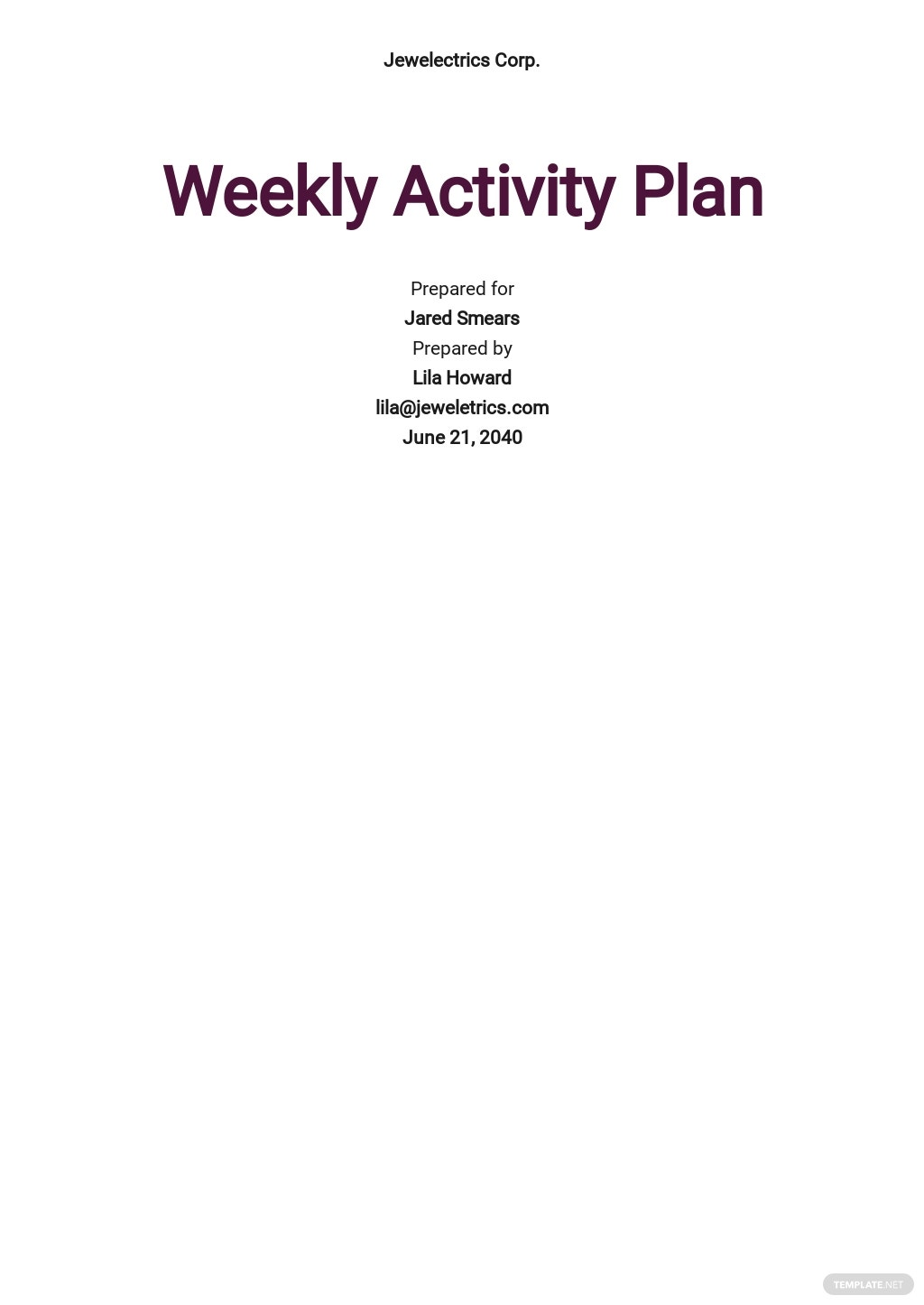Weekly Activity Plan Template