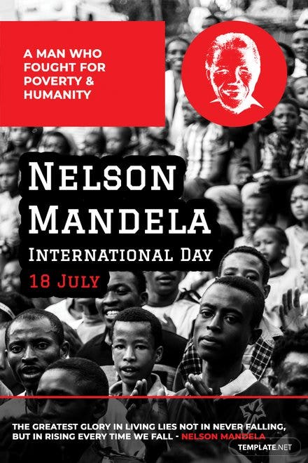 Free Nelson Mandela Day Pinterest Graphic
