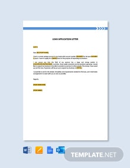 Free Loan Application Letter Template