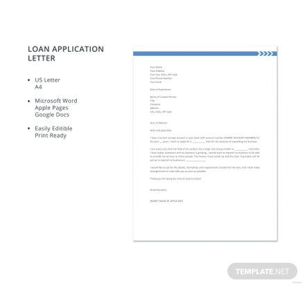 Free Loan Application Letter Template