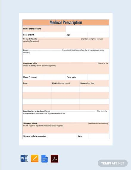 Free Nephrology Doctor's Prescription Template