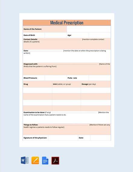 Free Nephrology Doctor's Prescription Template
