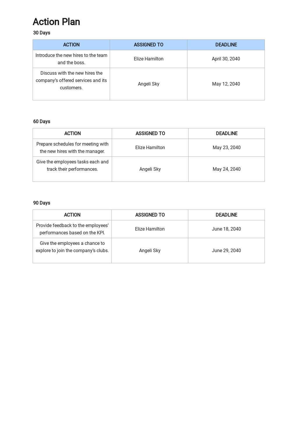 30 60 90 day Action Plan Sample 3.jpe