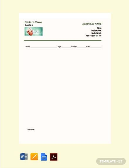 Free Cardiologist Doctor's Prescription Template