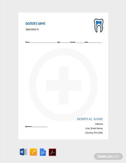 Free Dentist Doctor's Prescription Template