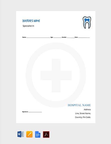 Free Dentist Doctor's Prescription Template