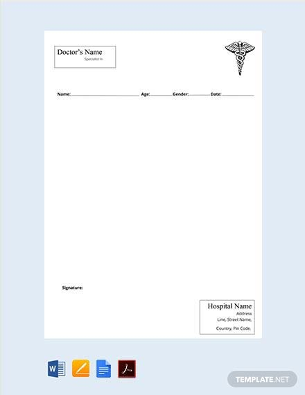 Free Ophthalmologist Doctor's Prescription Template