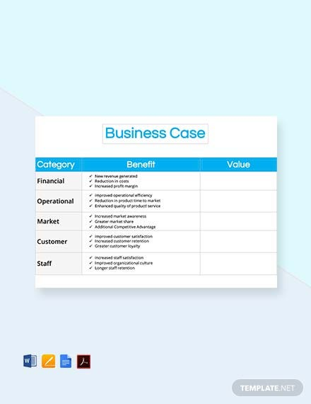 Free Business Case template